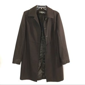 KENNETH COLE Chocolate Brown Wool Coat